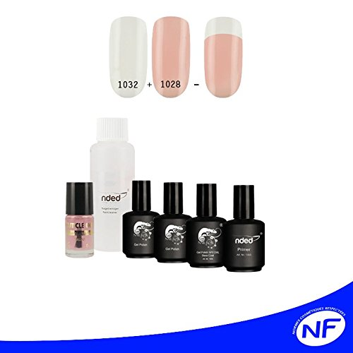 Kit french 3 vernis UV ou LED SEMI PERMANENT french manucure twincoat blanc et rosé, primer et cleaner NDED