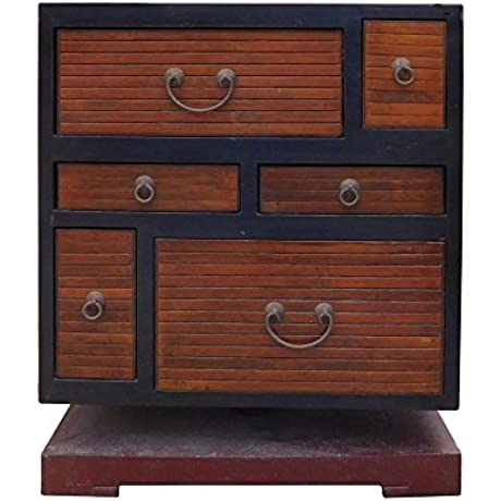 Chinese Black Brown Turning Base Side Table Cabinet Acs1349