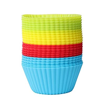 Doober 24Pcs Reusable Silicone Cupcake Liners Baking Cups Vibrant Muffin Molds Tool