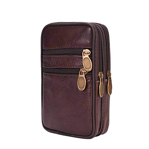 Moonnight Store Outdoor Running Bags Men Genuine Leather Waist Pack Bag Double Zipper Cell Mobile Phone Case Coin Purse Pocket Pouch Male Fanny (C1)