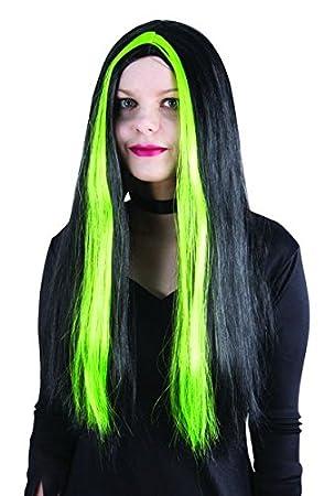 Peluca de mechas con diseño de bruja para mujer, color verde