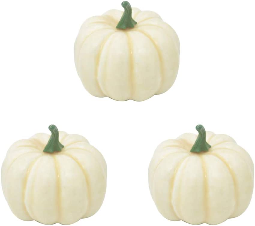 Simulation Foam Pumpkin 12pcs Lifelike Foam Pumpkins Table Props Party Supplies for Halloween Festival Decor (White)