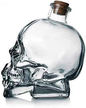 HLR Vasos de Whisky Jarra de Whisky Vino De La Jarra, Botella Grande De Whisky La Jarra De Cristal Cara del Cráneo, Sin Plomo De Vidrio Espesado con Cork, Robusto Whisky Y Vodka Vidrio De Tiro