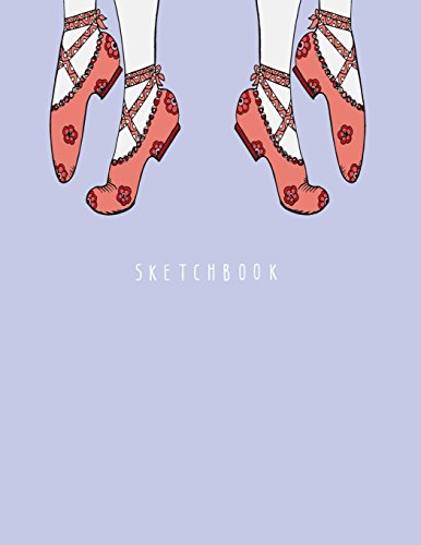 sketchbook: Ballet shoe on purple cover (8.5 x 11)  inches 110 pages, Blank Unlined Paper for Sketching, Drawing , Whiting , Journaling & Doodling (Ballet shoe on purple sketchbook) (Volume 4) -