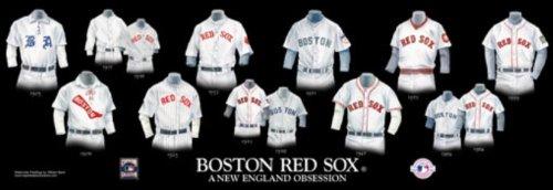 Framed Evolution History Boston Red Sox Uniforms Print ()