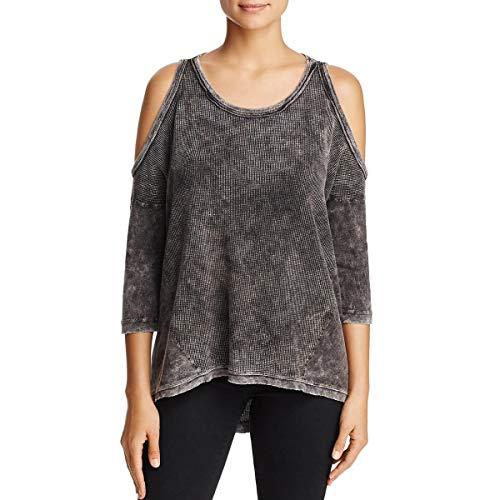 (Three Dots Women's Thermal Cold Shoulder Loose Mid Shirt, Black Medium)