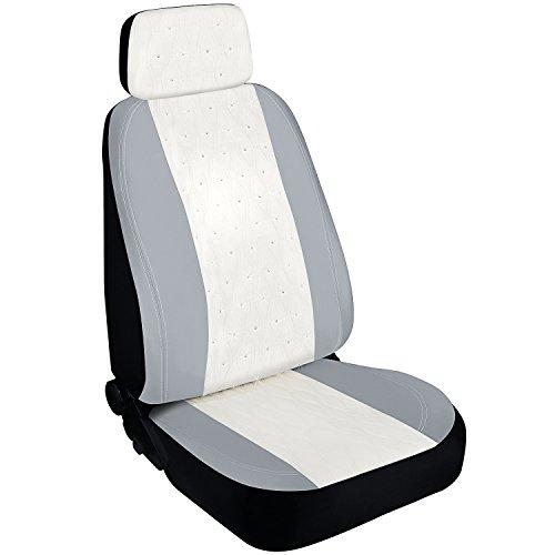 (Pilot Automotive SWR-0112 Swarovski Wavy Stitch Seat Cover, White 1 Piece )