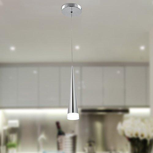 antikue Max 5W Colgante moderno cromado Lámparas de araña techo de luz Fixture de iluminación para luces de metal salón/dormitorio/comedor/cocina 1LED sobre una base Fuente de luz color = blanco, Blanco Warm