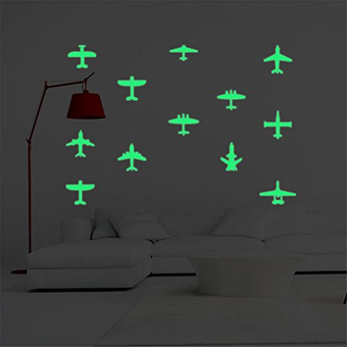 Transer Luminous Wall Stickers Fluorescent Kids Room Airplane Home Decor Glow in the Dark 12PC (Z-D) Airplane Room Decor