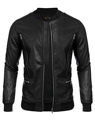 COOFANDY Men's Fashion Motorcycle Leather Jackets Bomber Biker Jacket Coats (Dress Coat Leather Men)