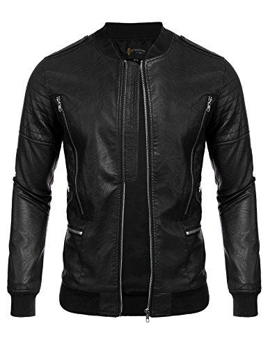 COOFANDY Men's Fashion Motorcycle Leather Jackets Bomber Biker Jacket Coats (Men Coat Leather Dress)