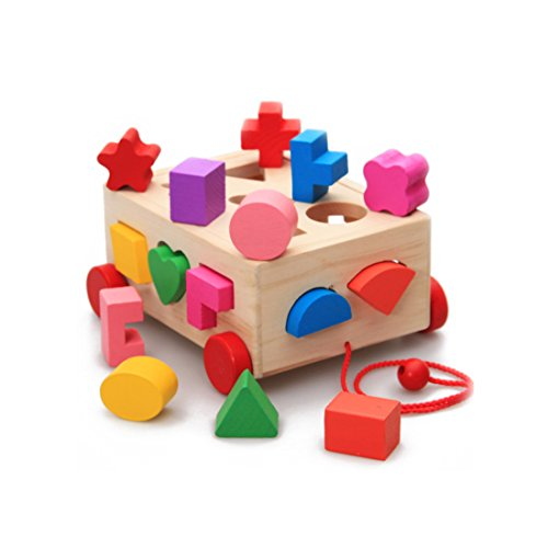 Shape Sorting Cube - Classic Wooden Toy With 15 Shapes size 7.5 x 6.9 x 3.7 inches