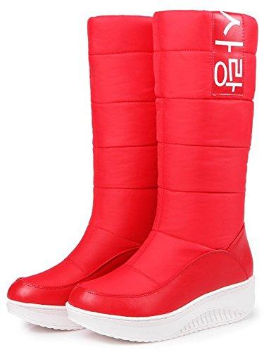 Summerwhisper Vrouwen Casual Print Ronde Neus Warme Fleece Gevoerde Antislip Platform Slip Op Mid Kuit Snowboots Schoenen Rood
