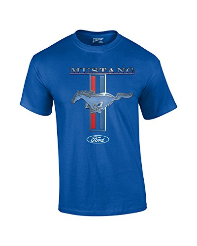 Ford Mustang T-Shirt Ford Mustang Pony & Stripes-Rb-L Royal Blue