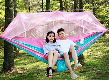 TOPCHANCES Upgrade Ultralight Portable Nylon Camping Hammock Mosquito Net with Rain Fly Tent Tarp for Outdoor Windproof, Anti-Mosquito, Swing Sleeping Hammock Bed