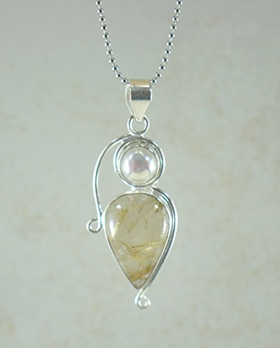 Rutile Quartz Pendant - SIVALYA Golden Rutile Quartz Pendant Necklace in 925 Sterling Silver, Gift for Her