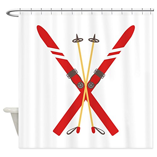 4b1c200017c86 CafePress Vintage Ski Poles Decorative Fabric Shower Curtain (69