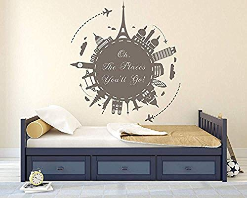 All Places You Ll Go Around World Premium Series Home Bedroom Loft Wall Decals Decor Vinyl Sticker SK14585 ()