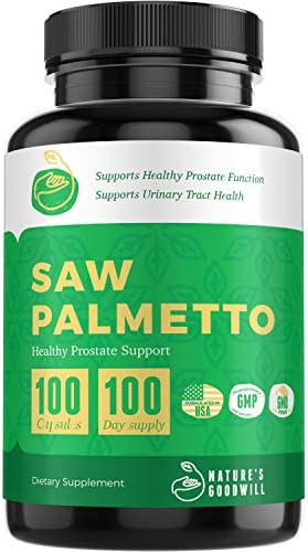 Saw Palmetto Prostate Health Supplements for Men Reduce Frequent Urination, DHT Blocker, Hair Loss Prevention Libido Booster Saw Palmetto 500 Mg Serving 100 Non-GMO Capsules