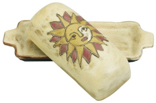 MARA STONEWARE COLLECTION - Collectible Covered Butter Serving Dish - Mexican Pottery - Desert Sun Design