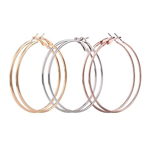 Mother's Day Gift, Muranba 3 Pair Women Thin Round Big Dangle Hoop Loop Earrings (Flowers Hoop Ring)