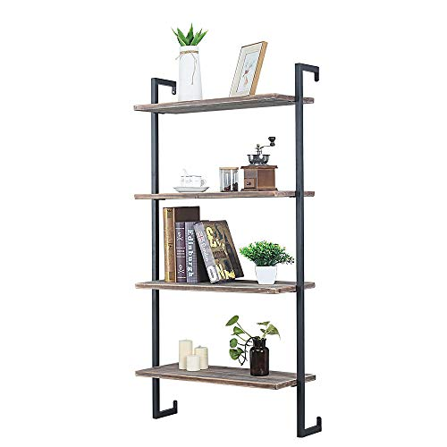 GWH Industrial Metal and Wood Wall Shelf Unit,Rustic Floating Wood Shelves Wall Mounted,24in Iron Real Reclaimed Wood… 1