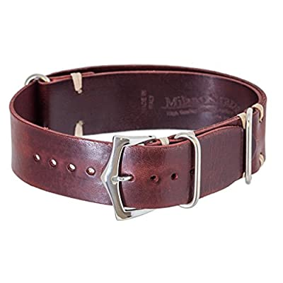 Milano Straps NATO Burgundy Italian Leather Strap Italian Leather Unisex Burgundy Lug with 20mm,22mm from Milano Straps