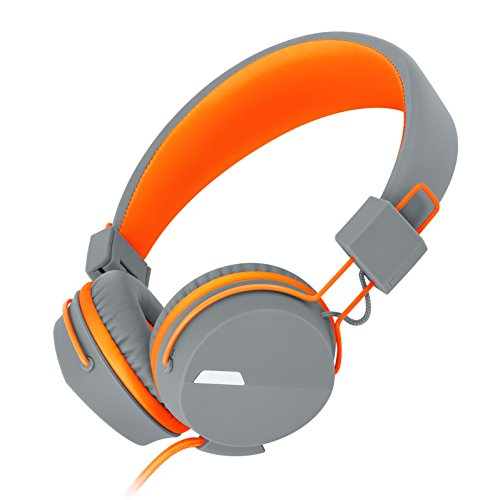 Kanen I39 Headphones On ear Foldable Noise Isolating Headsets with Mic and Remote for Kids Adults (Orange) by KANEN