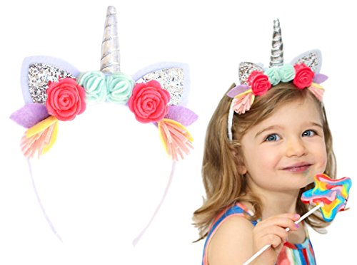 California Tot Unicorn Crown Headband with Glitter Ears & Felt Flowers for Babies, Toddlers, Girls (Unicorn) - Unicorn Mint