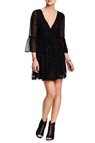 Free People Georgette Beaded Wrap Dress, Black, 2