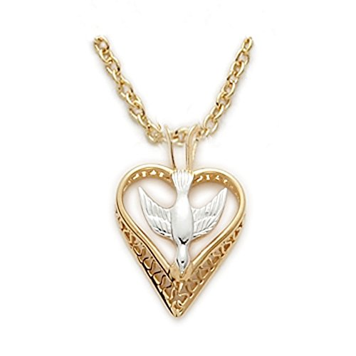 - 14K Gold over Sterling Filigree Heart with Overlay Dove Two-Tone Pendant, 1/2 Inch