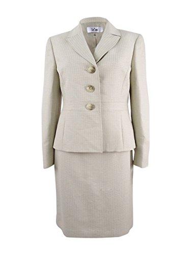 Le Suit Women's Tweed 3 Button Skirt Suit, Wheat Multi, 8