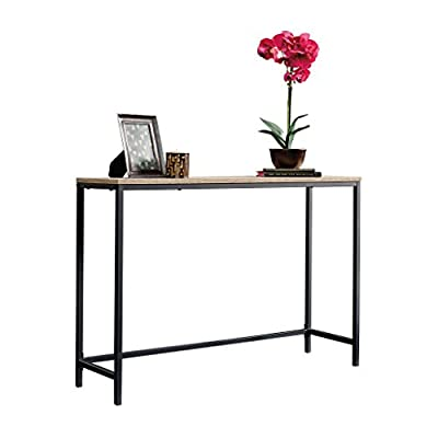 Sauder North Avenue Sofa Table, Charter Oak finish - Finished on all sides for versatile placement Durable, Black metal frame Characters Oak Finish - living-room-furniture, living-room, console-tables - 41cep75YiYL. SS400  -