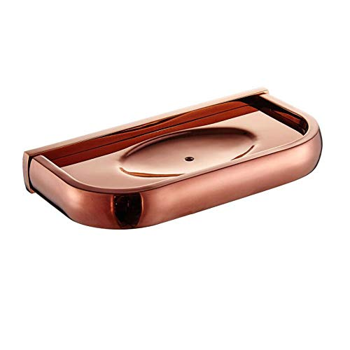 7Trees Solid Brass Bathroom Accessories Wall Mounted Soap Holder Bathroom Soap Dish Shelf Shower Accessories Soap Holder (Rose Gold)