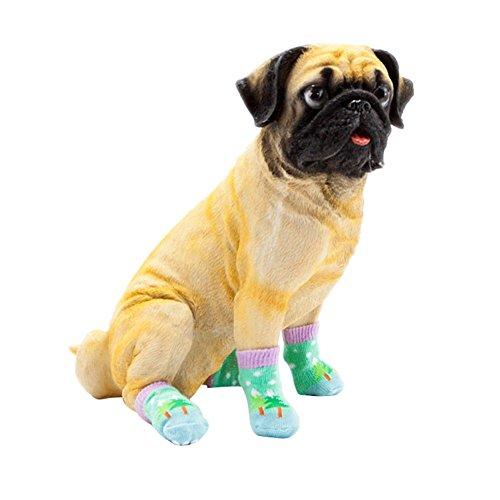 (ELINKMALL 4pcs Pet Small Dog Anti-slip Warm Socks Cotton Knit Socks Soft Shoes (M, #04))