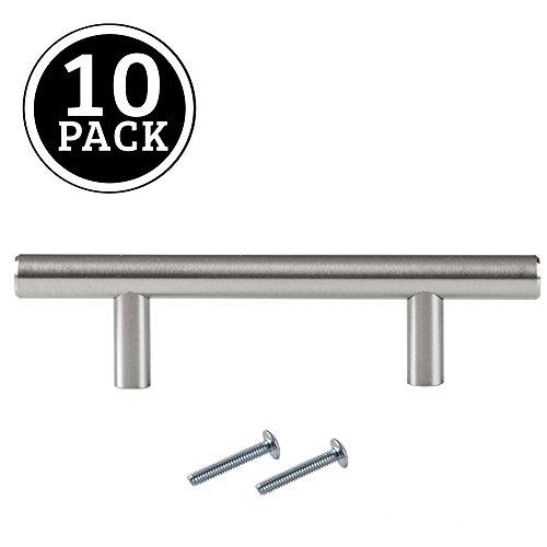 Satin Nickel Kitchen Cabinet Pulls - 3 Inch Bar - 10 Pack of
