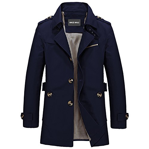 MAGE MALE Men Single Breasted Notch Lapel Jacket Windbreaker Slim Fit Cotton Lightweight Trench Coat Navy Blue X-Small by MAGE MALE