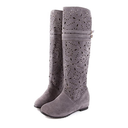Out M Solid Boots Round with AmoonyFashion Hollow Closed PU Gray 5 Womens Kitten 6 Frosted Toe US B Heels qzTYw7