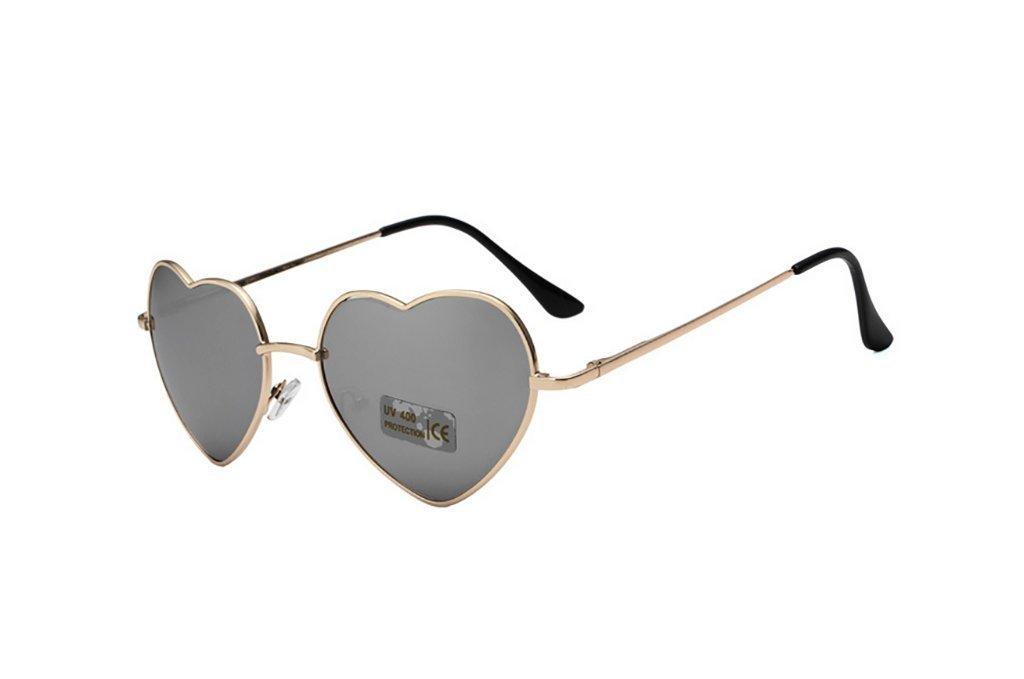 Colore : 10 Sungeye Occhiali da Sole Occhiali da Sole di Metallo di Amore//Occhiali da Sole di Modo del Cuore della Pesca//Occhiali da Sole Selvatici Occhiali