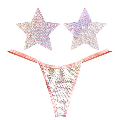 Neva Nude Princess Bride White Baby Pink Magic Sequin Flip Nauhgty Knix G String Pasties and Pantie Set ()