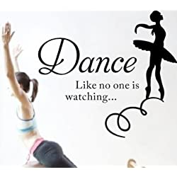 Dance like no one is watching Inspirational Quote Lettering Wall Decals Removable Wall Decals Art Wall Decor