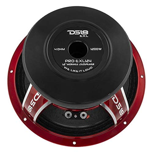 DS18 PRO-EXL124 Loudspeaker - 12'', Midrange, Red Aluminum Bullet, 1200W Max, 800W RMS, 4 Ohms, Ferrite Magnet - For the Peple Who Live and Breathe Car Audio (1 Speaker) by DS18 (Image #4)
