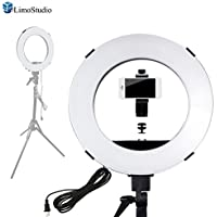 LimoStudio 14 inch Diameter Dimmable Continuous Round Ring Light, for Beauty Facial Shoot, Light Stand Tripod, Cell Phone Spring Clip Holder with External Lighting Diffuser, Photo Studio, AGG2417