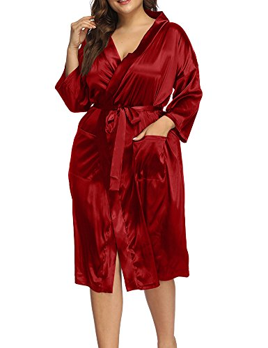 Allegrace Women's Plus Size Sexy Wrap Front Satin Kimono Robes Sleepwear Pocket Long Pajamas Red 1X]()