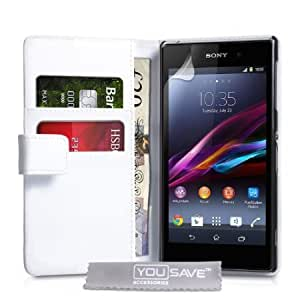 Viesrod Yousave Accessories Sony Xperia Z1 Compact Case White PU Leather Wallet Cover