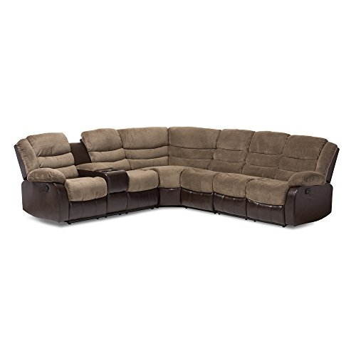 - Baxton Studio 7 Piece Prospern Towel Fabric & Faux Leather Two-Tone Sectional Sofa, Brown