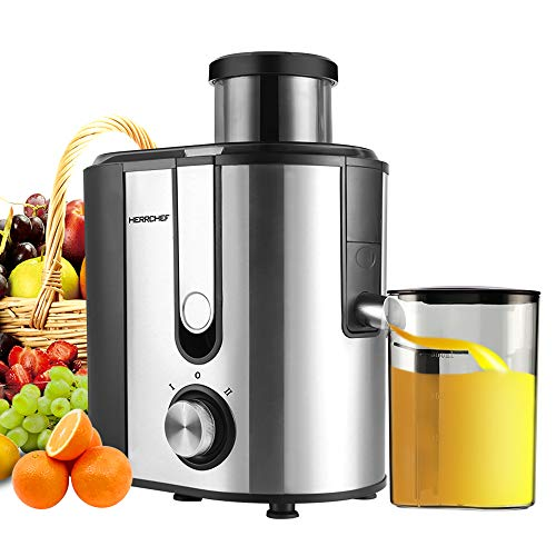 Centrifugal Juicer Machine, HERRCHEF 600W Compact Juice Extractor, BPA Free Dual Speeds Stainless Steel Juice Maker for Fruit and Vegetables, Detachable and Easy to Clean Orange Juicer (Small)