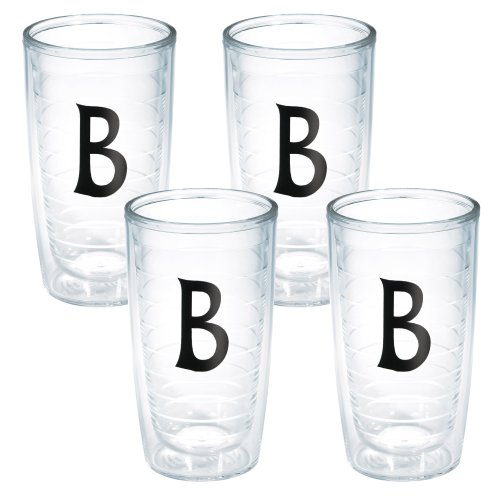 (Tervis Tumbler with Decorative Black Twill Letter-B, 16-Ounce, 4-Pack)