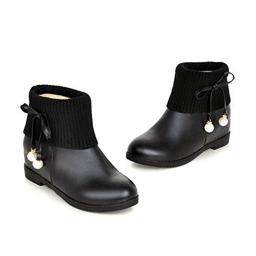 Allhqfashion Femmes Bout Fermé Bout Fermé Bas-haut Kitten-heels Bottes Pu Plein Avec Bijoux Noir