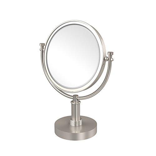Allied Brass DM-4G/2X-SN 8 Inch Vanity Top Make-Up Mirror 2X Magnification, Satin Nickel